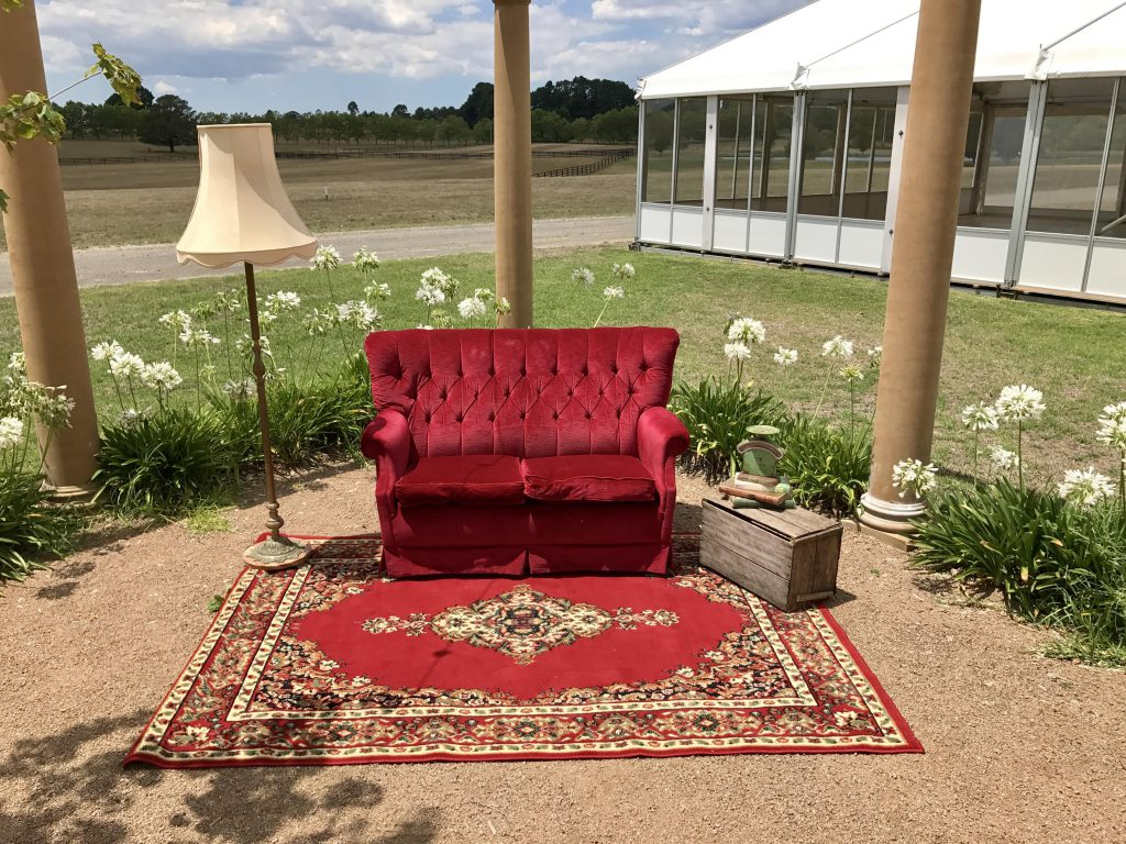 red vintage couch