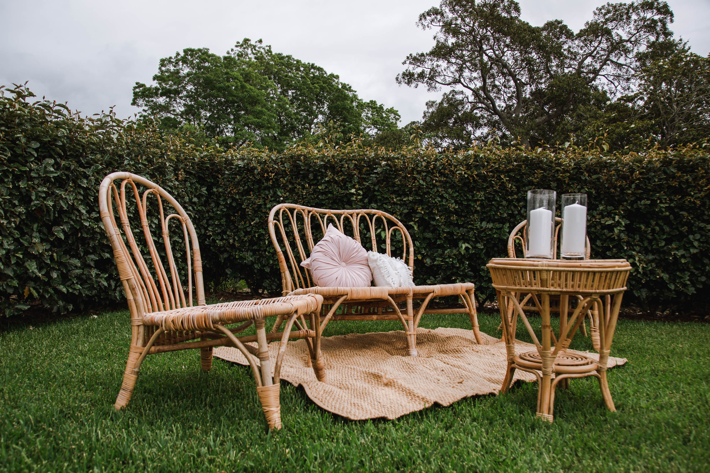 Double Sofa Natural Bamboo Rattan The Wedding Event