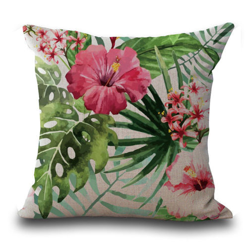 Tropical pink flowers cushion the wedding event creators tropical pink flowers cushion mightylinksfo