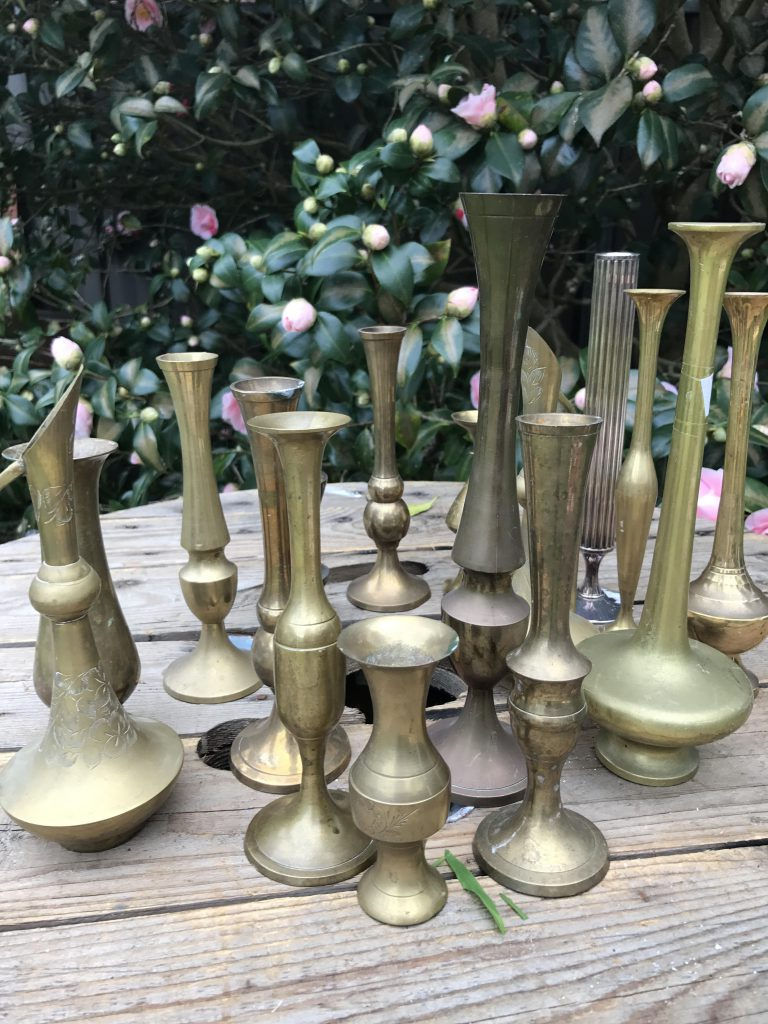 brass vases small size close up