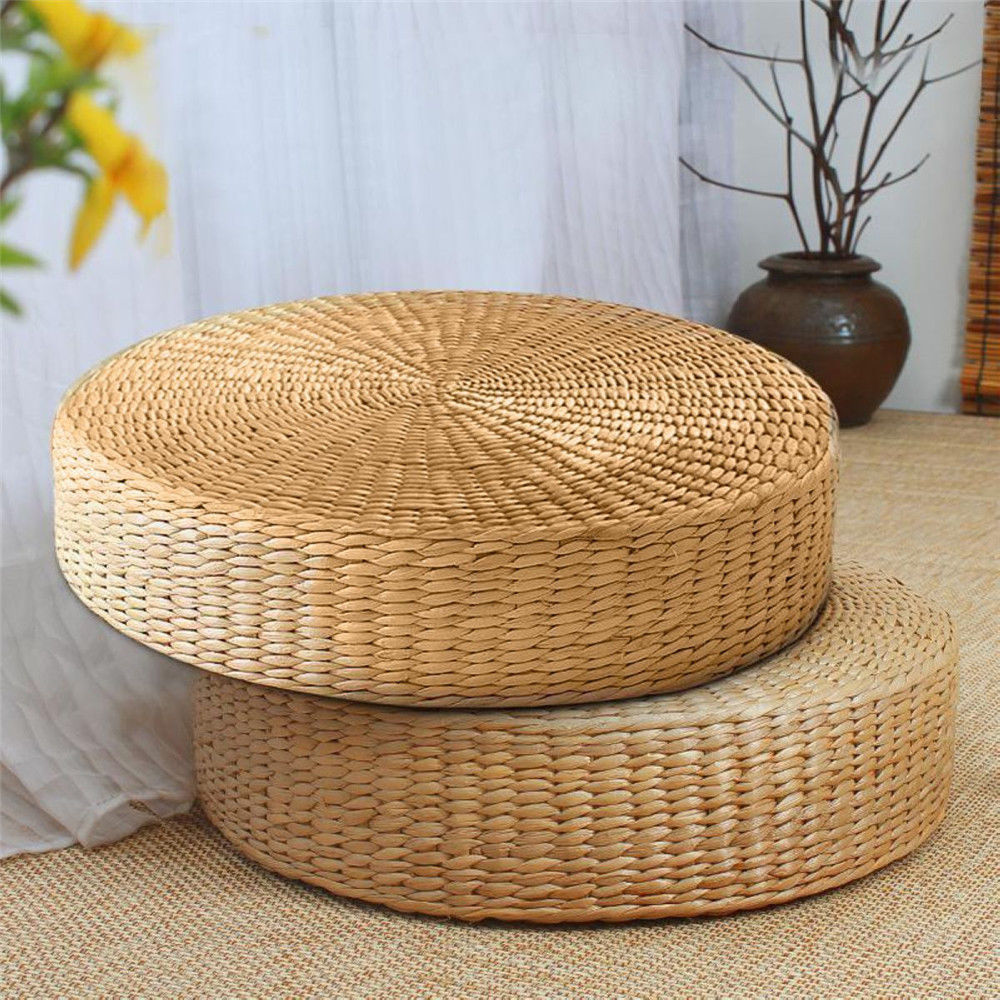 Circular Rattan Seagrass Floor Mat Cushions Square Edged